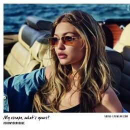 GIGI HADID IS BACK FOR VOGUE EYEWEAR'S SPRING/SUMMER 2018 CAMPAIGN
